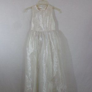 GIRLS LONG OFF WHITE DRESS TULLE COMMUNION PAGENT